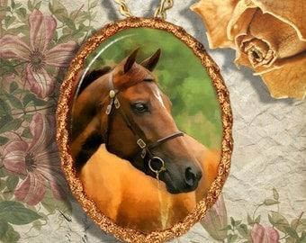 Chestnut Horse Morgan Horse Jewelry Pendant - Brooch Handcrafted Ceramic