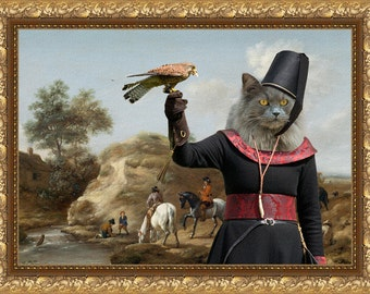 Cat Blue British Longhair or Persian Cat Fine Art Canvas Print - Dune landscape with a hunting party with Lady Falconer