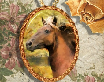 Horse Western Rocky Mountain Horse Jewelry Pendant - Brooch Handcrafted Ceramic