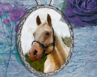 Appaloosa Horse Western Horse Jewelry Pendant Necklace or Brooch Handcrafted Ceramic