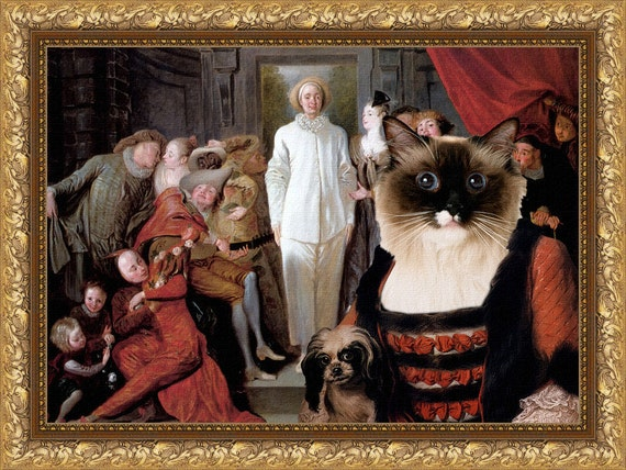 Birman Cat Fine Art Canvas Print - The Italian Comedians
