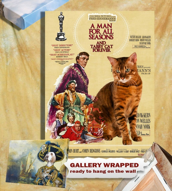 Tabby Cat Fine Art Canvas Print - A Man for All Seasons NEW COLLECTION