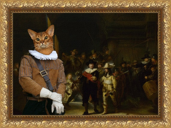 Abyssinian Cat Fine Art Canvas Print - The Nightwatch