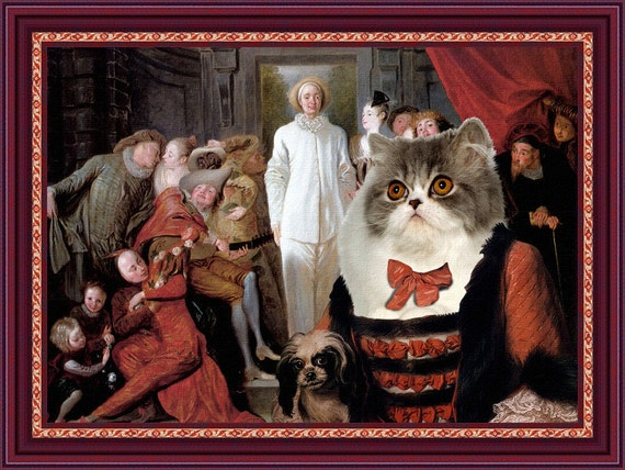 Persian Cat Fine Art Canvas Print -  The Italian Comedians