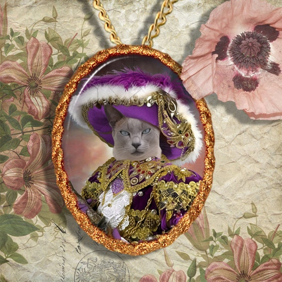 Siamese Cat Tonkinese Cat Jewelry Pendant Necklace - Brooch Handcrafted Ceramic