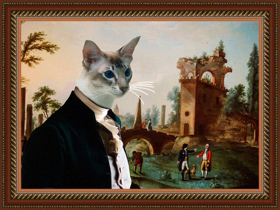 Siamese Balinese Cat Fine Art Canvas Print - The Afternoon meeting