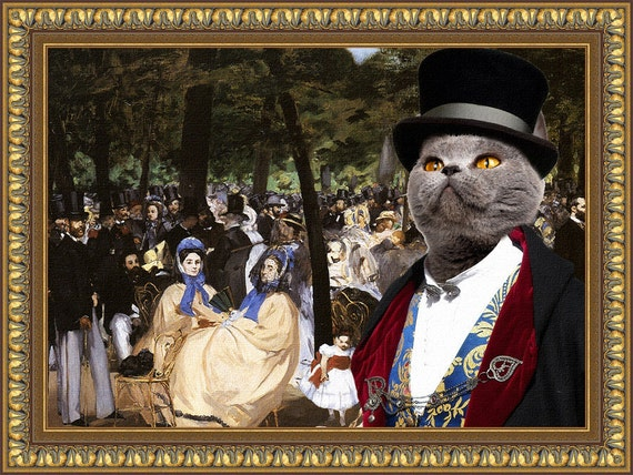 Blue Cat British Shorthair Fine Art Canvas Print - Music with Tuileries