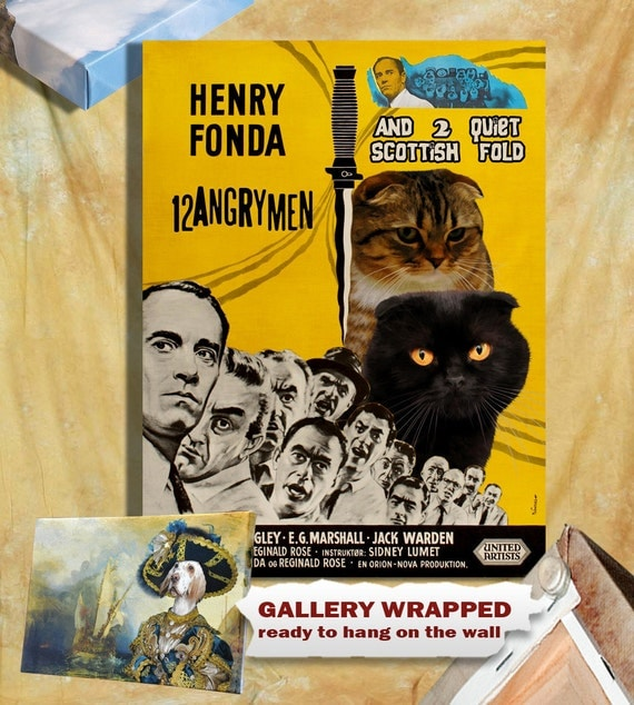 Cat Scottish Fold Fine Art Canvas Print - 12 Angry Men Movie Poster NEW COLLECTION