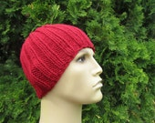 Claret Red Beanie for Men, Hand Knitted Hat for Men in Red