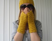 Yellow  Hat and Fingerless Gloves, Ponytail Hat and Fingerless Gloves in Mustard Yellow, Knitted Hat, Cowl