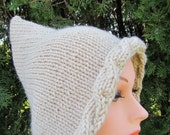 Pixie Knitted Hat, Hand Knit Hat, Gnome Hat, Elf Hat in Wheat, Lace, Tan