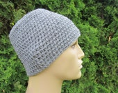 Hat for Men, Hand Knitted Gray Beanie for Men, Grey Hand Knit Hat