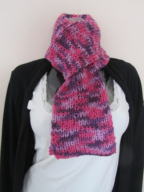 Knitted Multicolor Purple Scarf, Hand Knitted Scarf in Multicolor Purples, Scarf for Girls