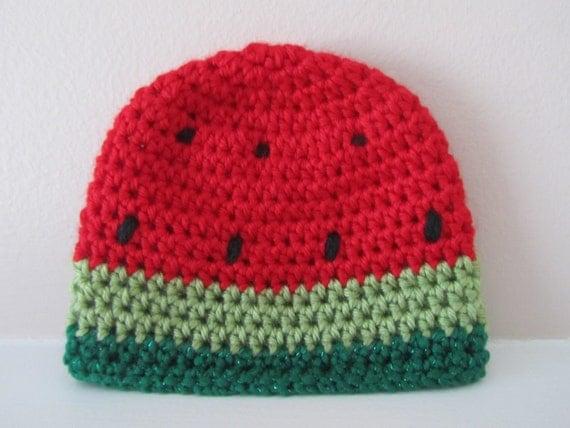Crochet Watermelon Baby Hat, Watermelon Hat for Infants, Newborn Hat