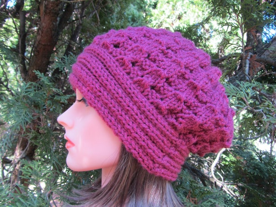 Antique Rose Hand Knit Hat, Beret Hat in Antique Rose, Fall and  Winter  Accessories