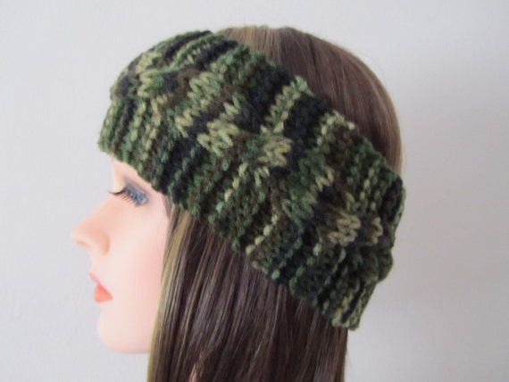 Hand Knitted Head Band in Camouflage, Cable Knit Ear Warmers