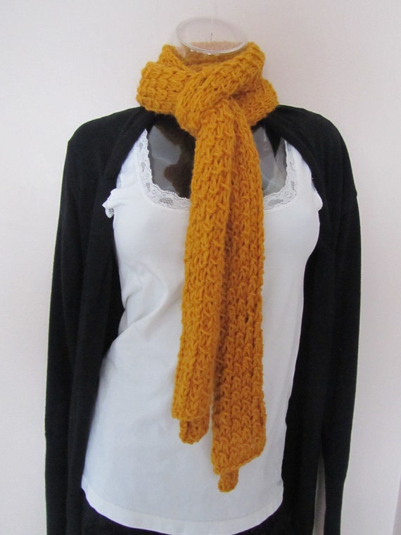 Knitted scraf with Bamboo Stitch, Hand Knitted Scarf in Gold, Yellow Scarf