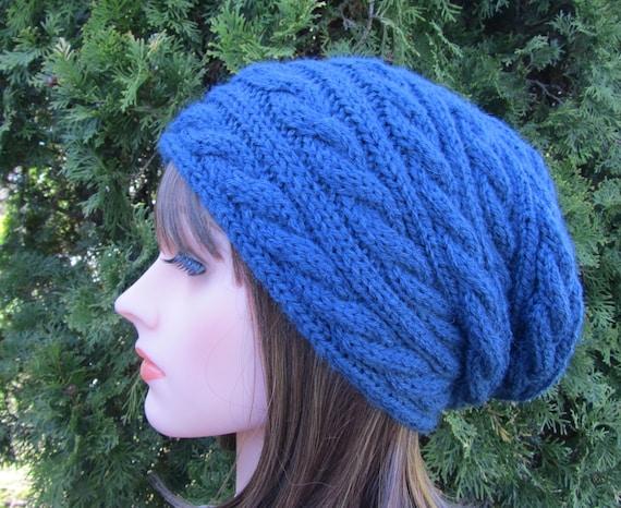 Denim Hand Knit Hat, Slouchy Hat in Denim, Knitted Navy Blue Hat, Winter Accessories