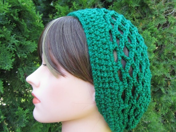 Crochet Snood in Green Handmade Beanie Hair by Madebyfate on Etsy