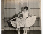 Old Photo Little Girl and Woman Ballet Dancers  Ballet Costume Photograph vintage