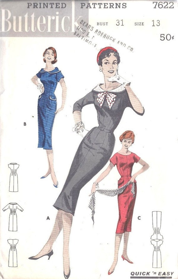 Vintage 1950's Butterick 7622 Junior and Misses Quick and Easy Sheath