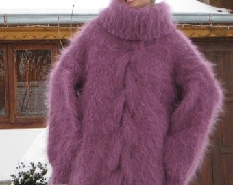 Unique Purple Hand Knitted Mohair Sweater