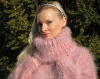 Beautiful Pink Hand Knitted Mohair Sweater Dress