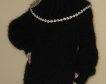 Classic Black and White Hand Knitted Mohair Sweater Dress