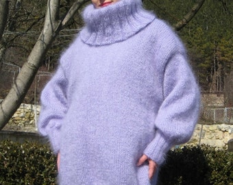 Lavender Color Hand Knitted Mohair Purple Sweater