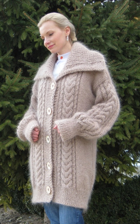 New Hand Knitted Mohair Beige Cardigan Fuzzy Thick by ...