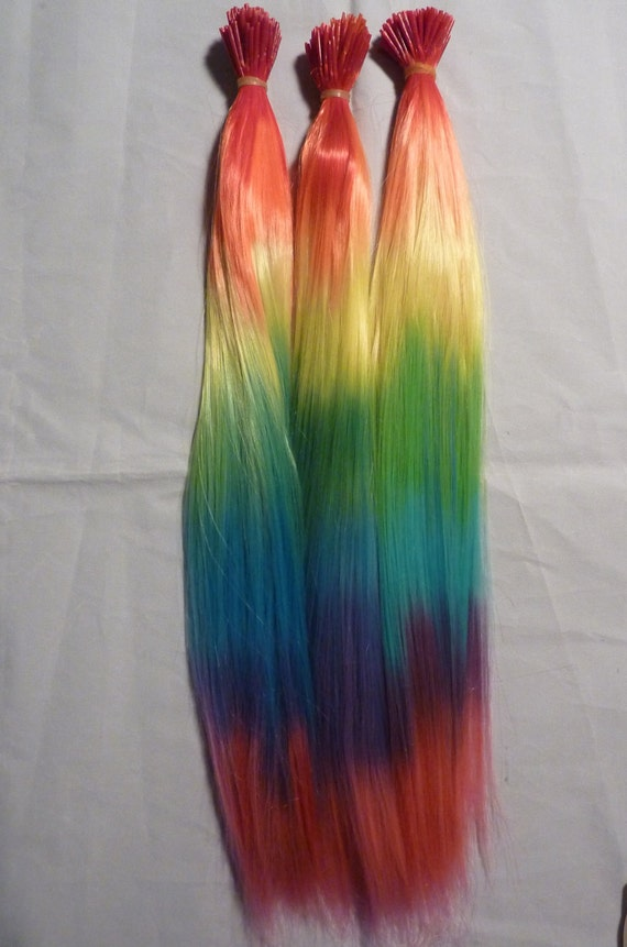"""Synthentic FEATHER HAIR Extensions 10 Long RAINBOW / Tie Dye 16"""" with Silicone Micro Bead Links"""