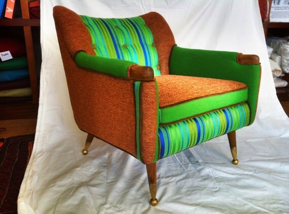 SOLD Danish Mod Chair With Vintage Boris Kroll fabric
