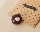 Tiny cute cat brooch / Dark brown kitty with pale pink nose / Felt plush animal brooches / Gifts for kids