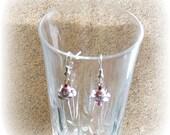 Pink Pearl Rose Dangle Earrings