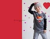 "Gray 'Mom Tattoo"" heart beanie for a baby boy"