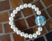 White Glass Pearls and Light Blue Murano Glass Bead Stretch Bracelet