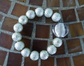 Silver Glass Textured Beads and Murano Glass Bead Stretch Bracelet