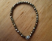 White Evil Eye and Iris Brown Czech Beads Stretch Bracelet