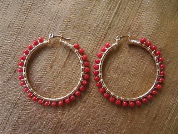 18 kt Gold-filled Hoop Earrings Wire Wrapped with Red Coral Beads