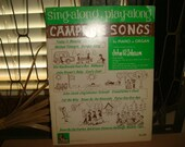 Vintage 1960 Sing along Play along Campfire Songs Clemintine Damper Song Old McDonald John Browns Baby Cabin Art