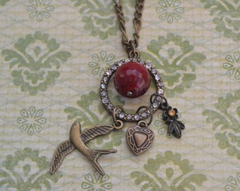 Vintage Valentine Red Charm Necklace