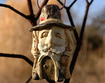 Sculpted Pottery Gnome Wren House