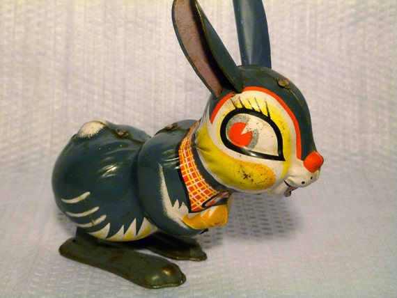"""Vintage 1950s Tin Litho """"Jumping Rabbit"""" Wind-Up Toy Made in Japan"""