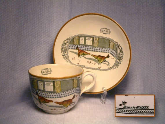 "Coupe Soup Bowl and Oversize Cup in ""Old English Sport"" Pattern by Adams China"