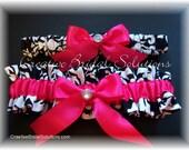 Black and White Damask with Shocking Pink Wedding Bridal Garter Set
