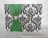 Black and White Madison Damask with Clover Wedding Guest Book