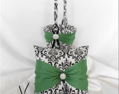 Black and White Damask with Clover Wedding Flower Girl Basket and Ring Pillow Set