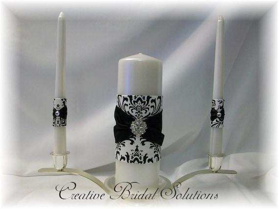 Black and White Madison Damask Wedding Unity Candle Set
