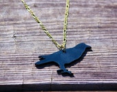 Lasercut Acrylic Raven Necklace on a Antique Bronze Chain