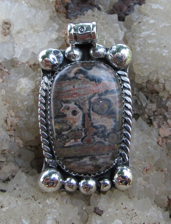 Leopard skin jasper and sterling silver pendant.#28